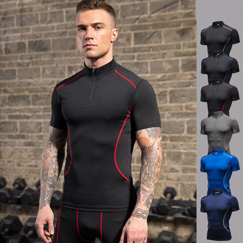 NEW Mens Sports T-shirts Stretch Short Sleeve