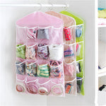 Transparent 16 Pockets 75x41cm Household Clear Hanging Bag Socks Bra Underwear Rack Hanger Bag Wardrobe Storage Organizer