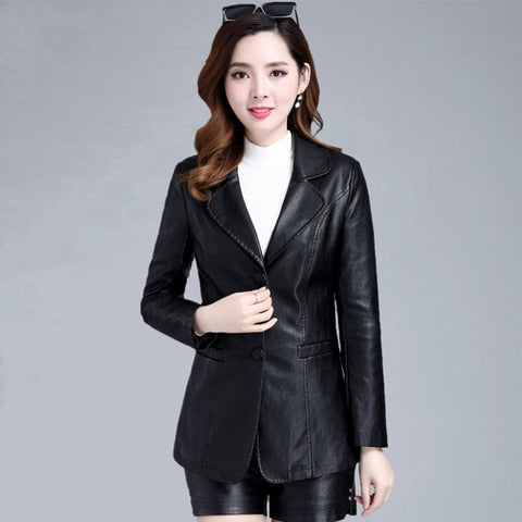 Casual Office Women Leather Coats