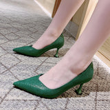 2020 New Arrival Green Heels Pointed Toed Office