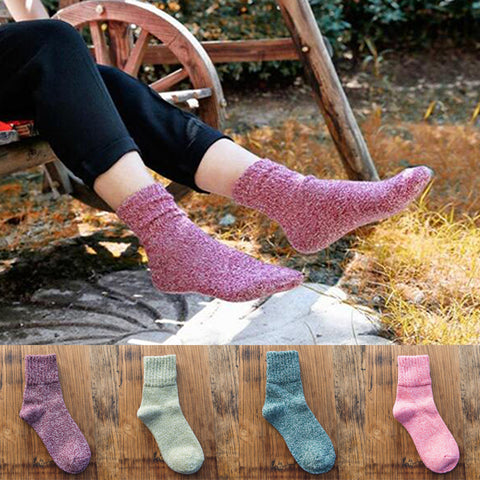 Solid Women Socks Simple Winter Wool Thick