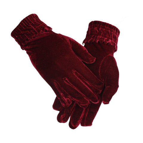 Velvet Elastic Gloves Winter Women Warm Soft Thermal