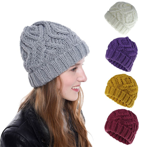 Warming Girl's Fashion Skullies Knitted Couple Hat