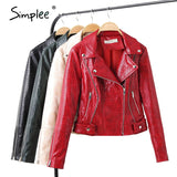 Simplee Spring and summer faux leather women coat