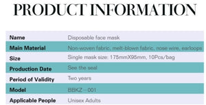 Disposable Face Mask -- FREE SHIPPING
