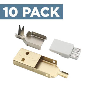 USB-A Connector [Gold] (10 Pack)