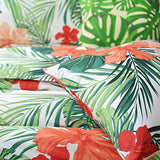 Tropical Red Hibiscus Palm Leaves Duvet Cover Set