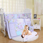Purple butterfly crib bedding set for girls with bumper pad, 7 piece