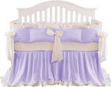 Luxury Purple Crib Bedding Sets for Girls Princess 8 Piece Nursery Bedding with Ruffle Bumper Pads 100% Cotton
