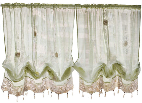 Pastoral 57-Inch-by-69-Inch Adjustable Balloon Manual Hook Flower Shade Curtains,Light Green, 1 Panel