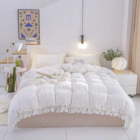 Velvet Bedding Tassel Duvet Cover Flannel White Warm with Zipper Ties for Winter