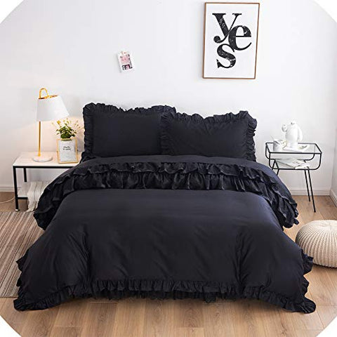 Black Ruffle Luxury Solid Black Lace  Bedding Set 4 Piece