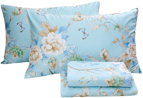 Floral Bedding Shabby Blue Bird Print Bed Sheet Set Luxury Bedding Collections 800 Thread Count