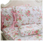 Rose Floral Bed Sheets 4-Piece 100% Cotton Bed Sheet Set