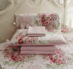 Shabby Floral Bedding Set Sheet Set 4 Piece Premium 100% Cotton Pink Rose Pattern