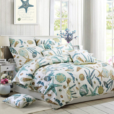 Beach Themed Bedding Sets 100% Cotton Super Soft Coastal Bedding White Teal Seashells and Starfish Nautical Bedding