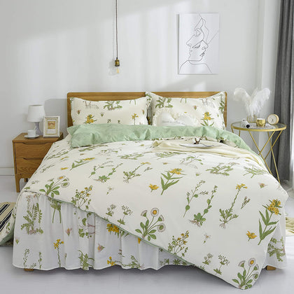 French Countryside Bedding Set Cotton Yellow Flowers and Green Leaves Floral Pastoral Bedding Set