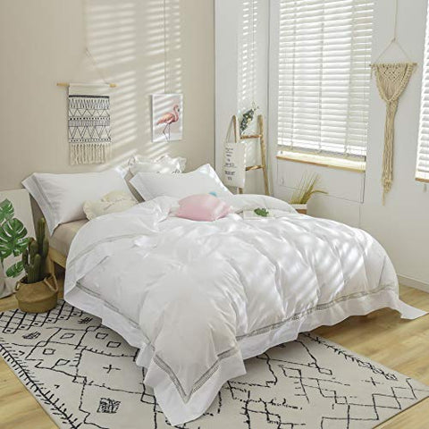 White Bedding Lovely Guipure Lace 100% Cotton Duvet Cover Set