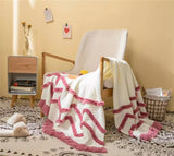 Multi Throw Blanket for Couch/ Bed/ Office with Fringe Tassel, 51''X 62''
