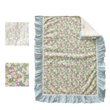 Baby Girl Crib Bedding Sets Green Floral Nursery Boho Bedding American Country Style 100% Cotton, Farmhouse
