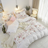 100% Cotton Farmhouse Floral Duvet Cover Set Bulgaria Rose Ruffled Duvet Cover Set