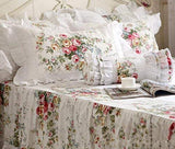 Elegant and Shabby Vintage Rose Floral White Duvet Cover Bedskirt  Lovely Lace and Ruffle Style