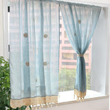 Pastoral 57-Inch-by-69-Inch Adjustable Balloon Manual Hook Flower Shade Curtain, Light Blue, 1 Panel
