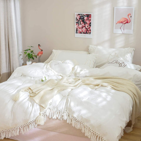 Washed Cotton Boho Bedding Tassel Duvet Cover