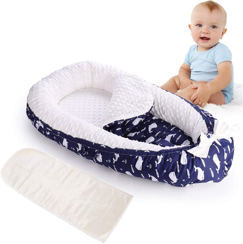Soft Baby Nest Bed Baby Newborn Lounger Breathable Double-Sided Baby Bassinets for Bed Portable Crib, 6 Color