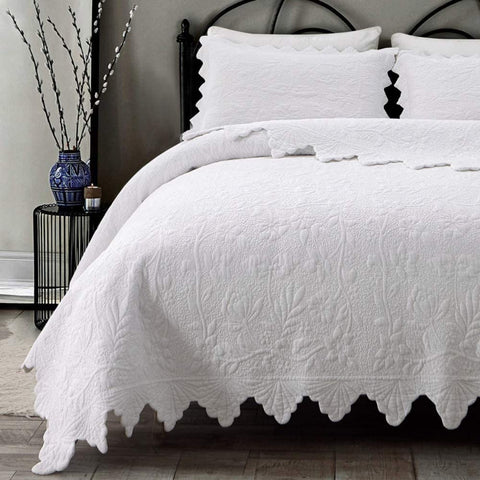 White Quilt Set Queen Size Bedspreads Cotton Luxury Quilt Bedding Set 3-Piece