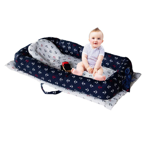 Baby Bassinet for Bed Nautical Newborn Infant Co-Sleeping Portable Cribs & Cradles Lounger Cushion, White Navy Anchor Printed