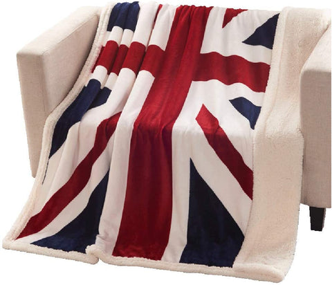 Super Soft Fleece Blanket British Flag Throw Blankets Teens Boys Adults Cuddling Blankets 51 X63