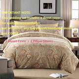 Luxury & Elegant Bedding Sets 3-Piece Gold Paisley Print Duvet Cover Set 100% Egyptian Cotton