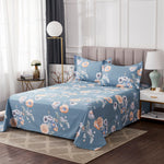 Shabby Floral Chic Grils Bedding Set Blue and Yellow Bloom Flowers 100% Cotton Fitted Sheet