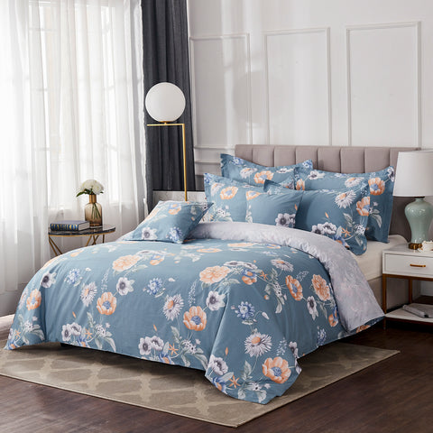 Blue and Yellow Floral Chic Bedding Set Farmhouse Bloom Flowers Duvet Cover Set