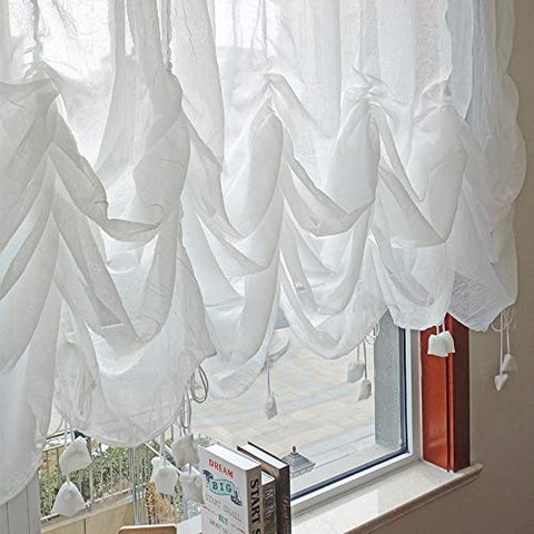 Farmhouse White Lace Shabby Elegant Chic Sheer Curtain