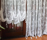 Elegant White Lace Embroidered Sheer Adjustable Tie-Up Ballon Curtains1 Panel
