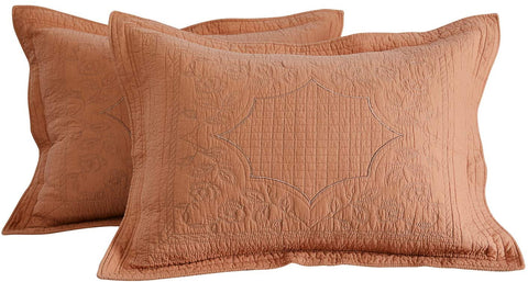 umpkin Orange Quilted Pillow Shams Standard Size 100% Cotton Pillow Covers Set of 2 Vintage Farmhouse Bedding