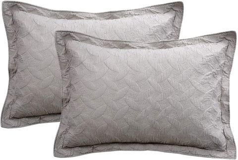 Quilted Pillow Shams Standard Size Cotton Grey Pillow Covers Set of 2
