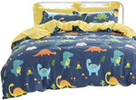 Dinosaurs Bedding Sets Kids 100% Cotton Boys Duvet Cover Set Reversible 3-Piece Zipper Closure