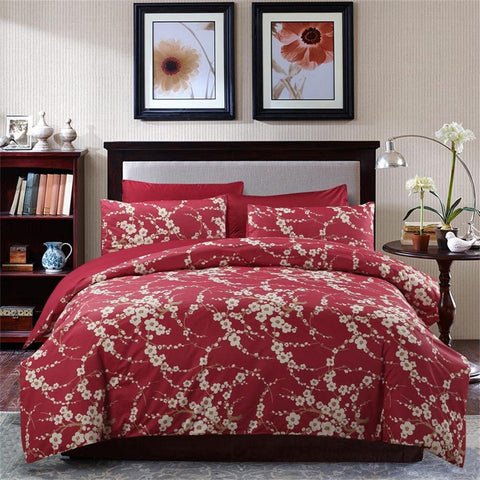 Duvet Cover King Japanese Oriental Style Cherry Red Blossom Branches Print Floral Bedding Set
