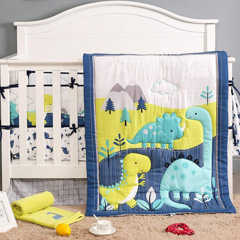 Dinosaur Crib Bedding Sets for Boys | 3 Piece Nursery Set | Crib Comforter, Fitted Crib Sheet, Crib Skirt Included, Ideal Baby Shower Gift
