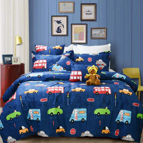 Boys Bedding Set Blue Cars Trucks Tractors Construction Toddler Kids Duvet Cover Set 3-Piece Zipper Closure 100% Cotton