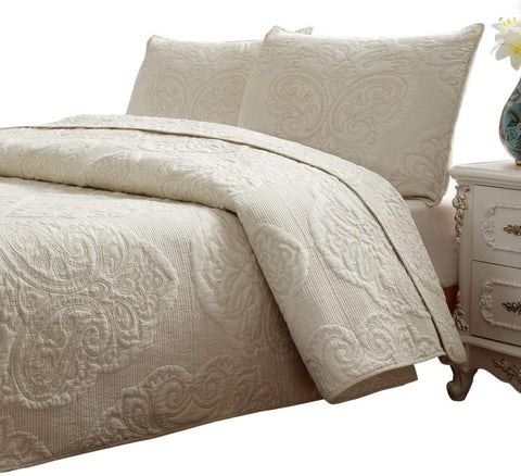 White Beige Vintage Floral Comforter Set Queen Size Bed Quilt Set