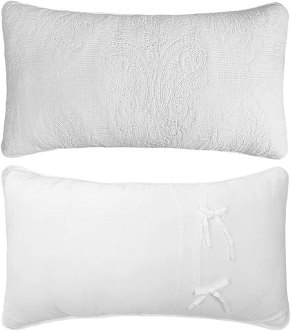 White Paisley Quilted Pillow Shams King Size Pillow Cases Set of 2 100% Cotton Soft Decorative Pillow Covers