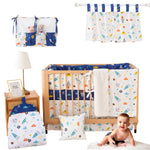 Baby Boys Navy/White Crib Bedding Sets with Bumper Pads Galaxy Nursery Bedding with Rocket Planet
