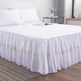 White Small Snowflake Pattern Design Bedskirt Set 100% Cotton Bedding Set3-Pieces