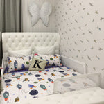 Kids Bedding Set Galaxy Space Bedding 100% Cotton Duvet Cover Set 3-Piece Full Size(No Comforter Included)