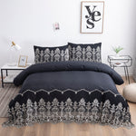 Shabby Soild Black Boho Luxury Lace Heml 100% Cotton Chic Duvet Cover Set