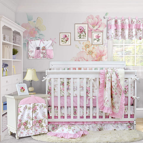 Baby Girl Pink Crib Bedding Sets 100% Cotton Percale Springtime Flowers Nursery Bedding Set